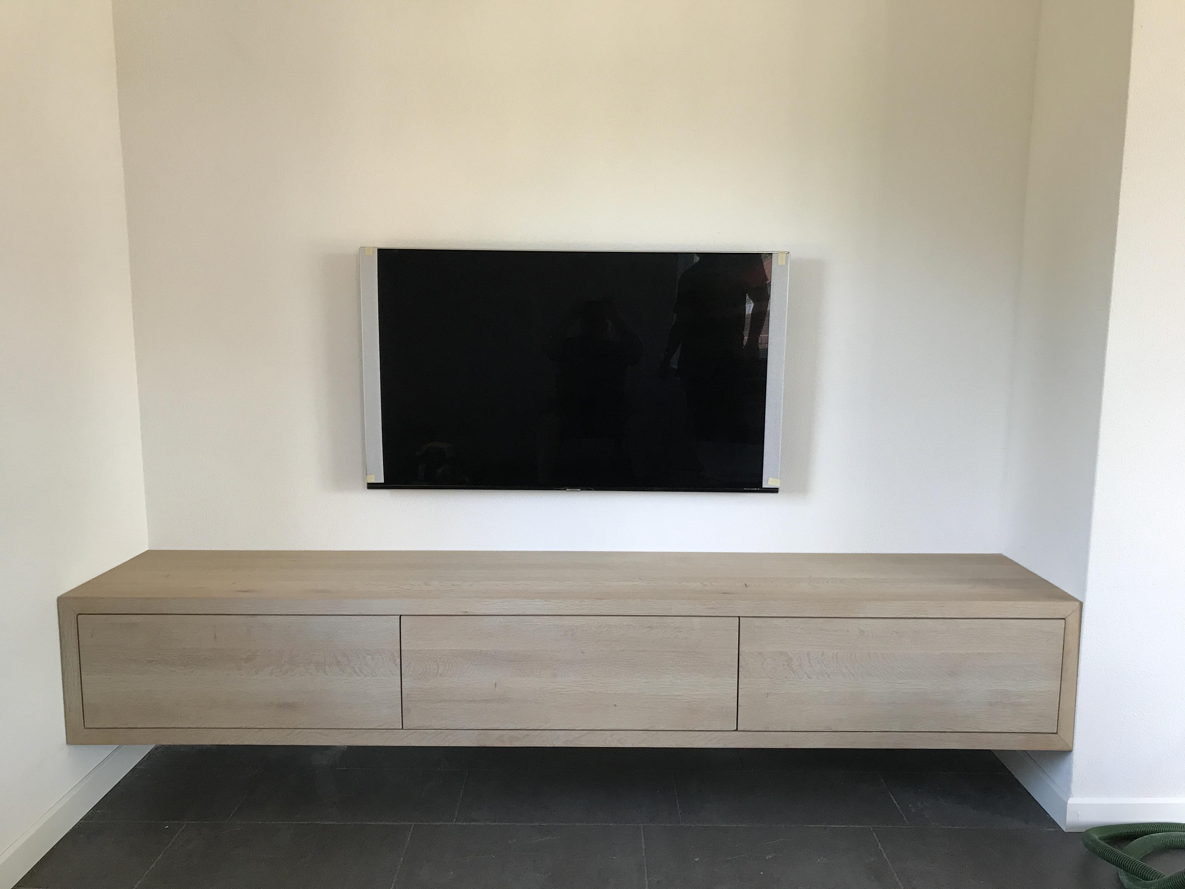 Zwevend massief eiken tv meubel u2013 bg maatwerk